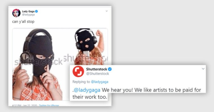 Lady Gaga critica a los que piratean música con fotos pirateadas. Shutterstock responde