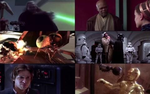 Las 6 películas completas de la saga original de Star Wars reproduciéndose al mismo tiempo