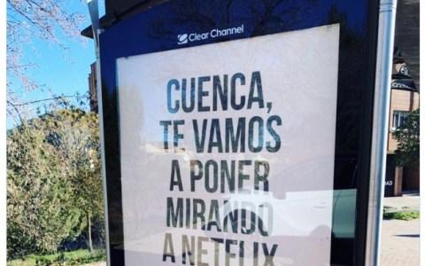 El cartel está muy bien jugado, pero se me hace raro ver al alcalde de Cuenca promocionando tan descaradamente una empresa privada...
