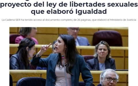 """El PSOE acaba de filtrar a la SER el documento de 26 páginas que masacra, con argumentos jurídicos y hasta gramaticales, la ley del """"sí es sí"""" de Irene Montero."""