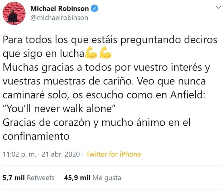 Pipi Estrada dice en Twitter que Michael Robinson ha muerto, y el mismo Robinson lo desmiente