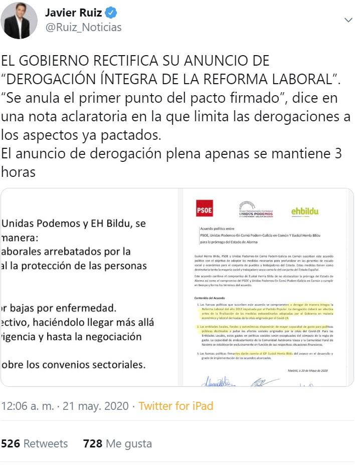 La derogación de la reforma laboral ha durado poco más que la República Catalana...