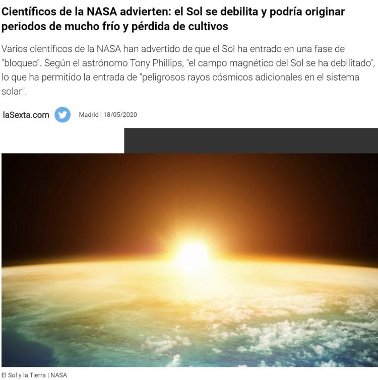 """2020 para ya, pofavo: """"El sol se debilita y están entrando poderosos rayos cósmicos en el sistema solar"""""""