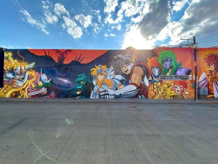 Espectacular mural de Caballeros del Zodiaco en México