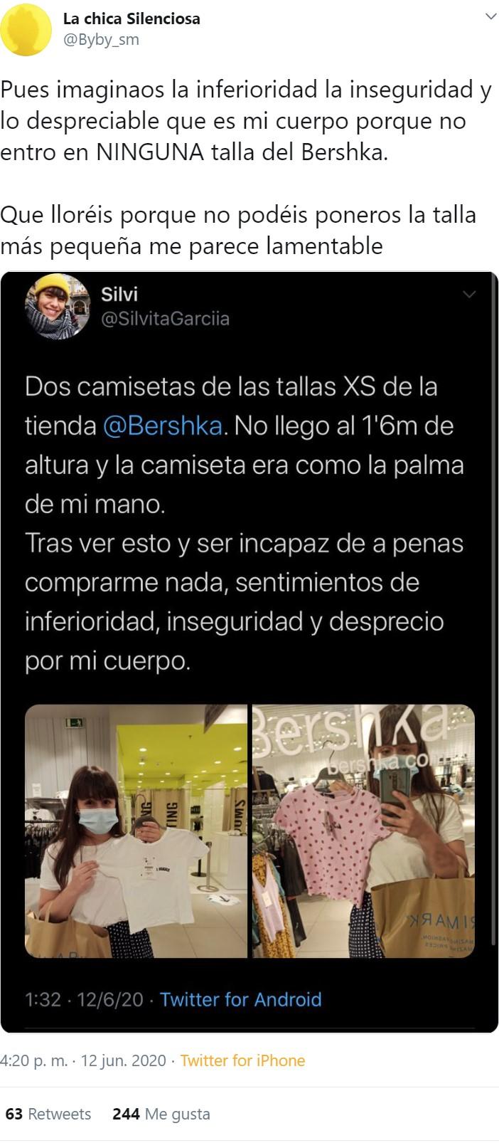 """Problemas del primer mundo femenino: """"No entro en la talla XS del Bershka"""""""