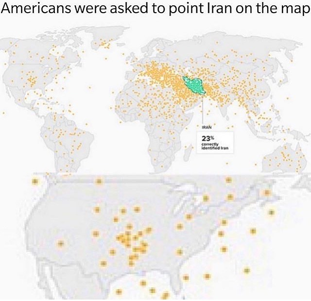 Pidieron a los Americanos que indicasen dónde creían que estaba Irán
