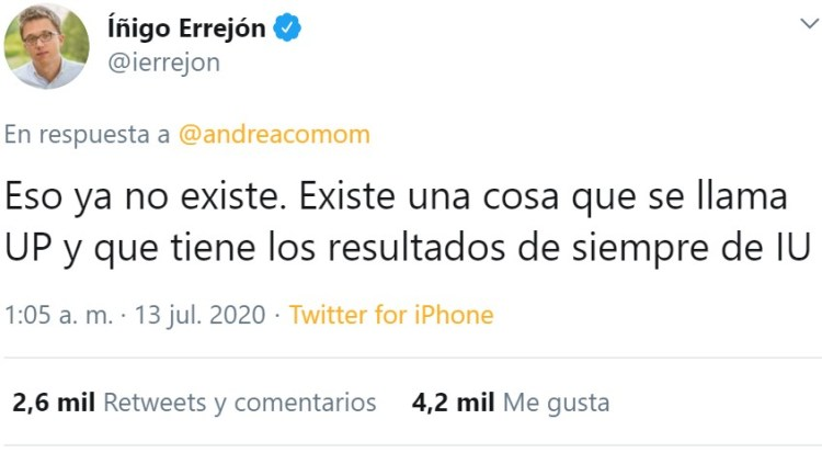 Tuit de Errejón 7,5 en la escala de Richter