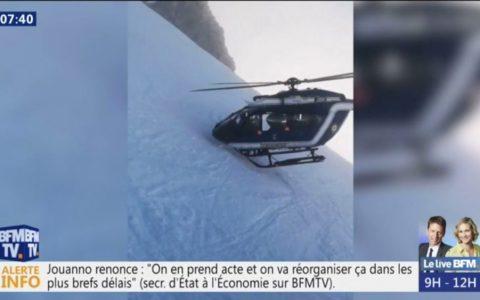 Con la nariz incrustada en la nieve: Demostración de pilotaje la del crack que maneja este helicóptero durante un rescate en los Alpes franceses