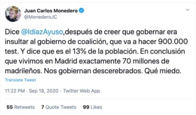 Parece que Monedero finalmente ha conseguido calcular el 100% a partir del 13%...