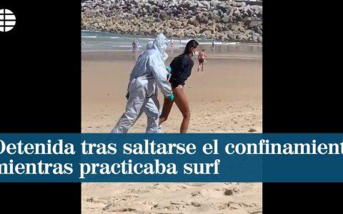 Detenida en San Sebastián cuando practicaba surf, saltándose el confinamiento tras dar positivo