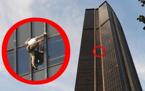 Sebastian Wichary escalando la torre Tour Montparnasse, el edificio más alto de Francia