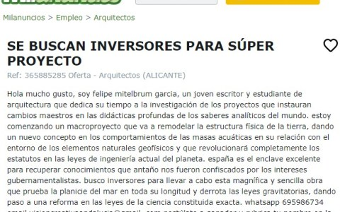 """""""Se buscan inversores para SUPER PROYECTO"""""""