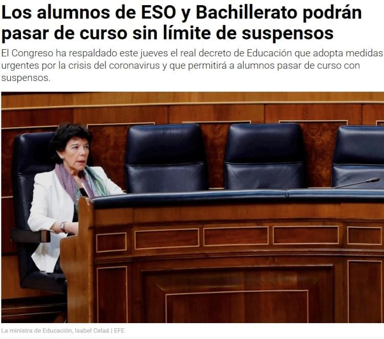 """""""El sistema español es abusivo con las repeticiones"""" (Ministra de educación)"""