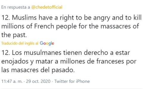 El exprimer ministro malayo afirma que los musulmanes tienen el derecho a matar millones de franceses
