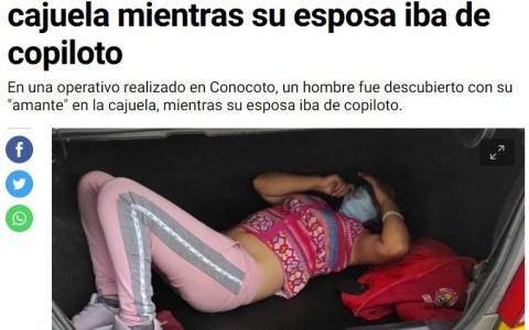 La policía de Ecuador observa a un taxista con actitud sospechosa. Trata de huir, le piden que abra el maletero y encuentran a una mujer. Era su amante, su mujer estaba en el asiento delantero.