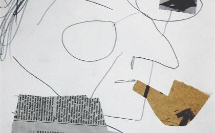Armando Guerra con ollo exipcio / Lapis e colaxe sobre papel / 45×32 cm / 2006