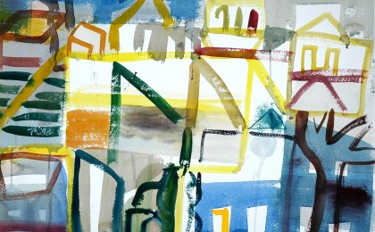 Montederramo en obras / Acuarela sobre papel / 51×65 cm / 2004