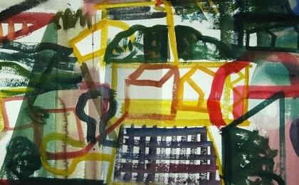 Minifundios / Acuarela sobre papel / 51×65 cm / 2004