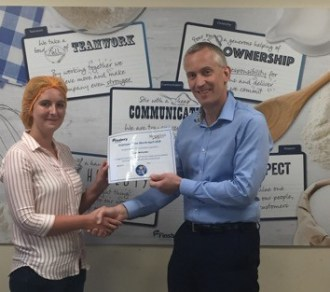 Finsbury Food Group Employee of the Month April 2018 Sarah McCarthy