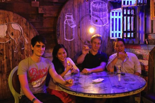 Bitcoin Vietnam cofounders (left to right) Aleksander Winter, Nguyen Tran Bao Phuong, Dominik Weil, and Phil Trinh. Photo: Bitcoin Vietnam.