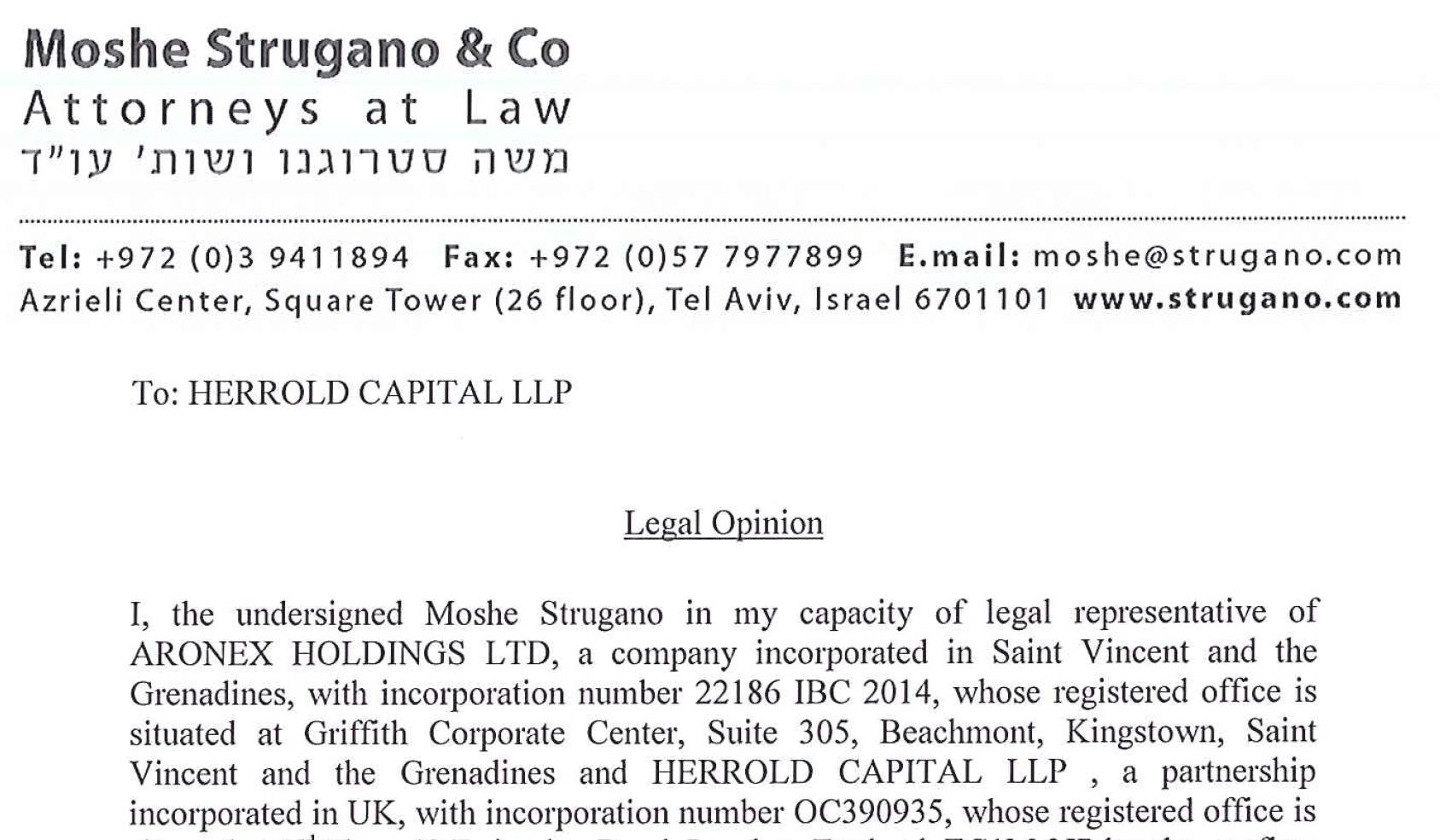 Moshe Strugano legal opinion for a scam