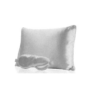 Lecler silk pillow and mask grey