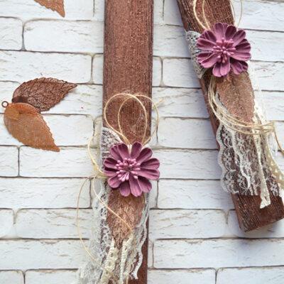 Λαμπάδα μπρονζέ με λουλούδι