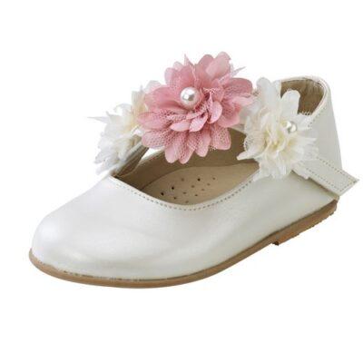 Παπούτσι βάπτισης μπαλαρίνες με λουλούδι