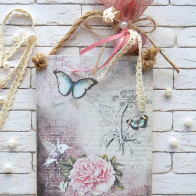 Μπομπονιέρα καδράκι πεταλούδα vintage