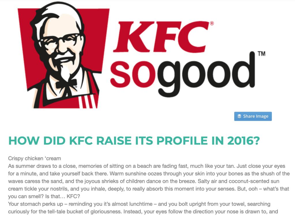 KFC article marketing technique