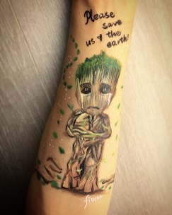 Groot, sad after typhoon 10...by HK face painting artist fiona