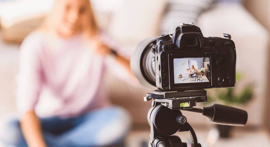 An influencer recording a video for Facebook or another platform