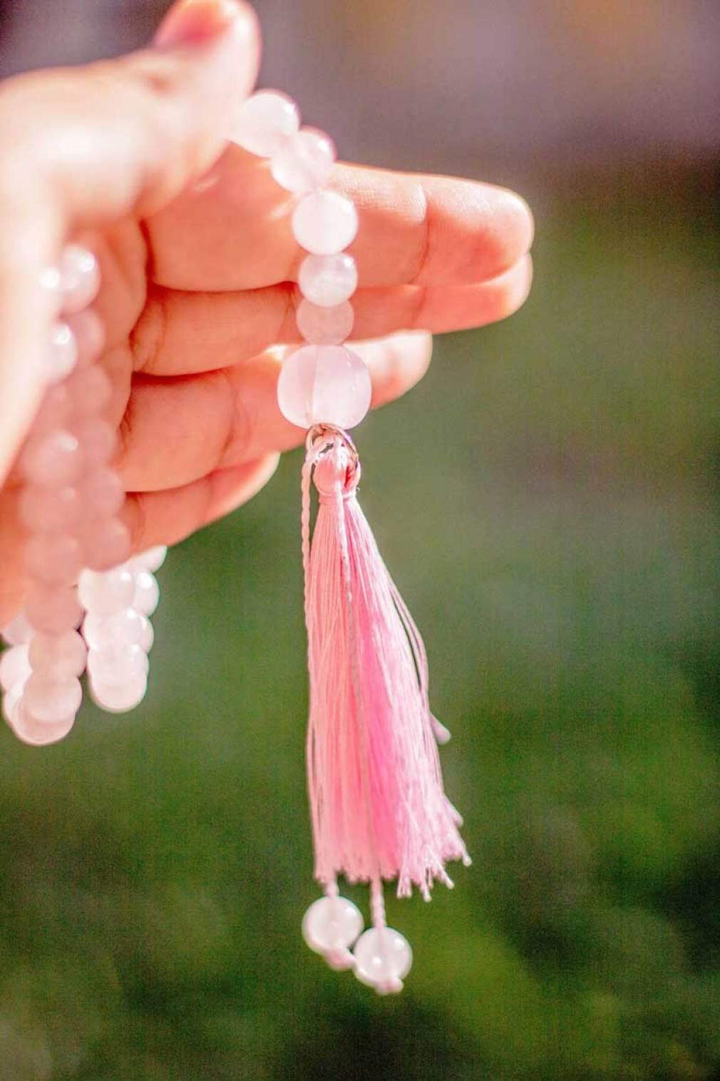 Meu japamala de cristais de quartzo rosa