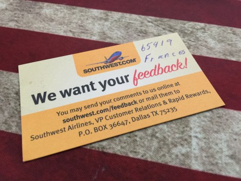Southwest Airlines Feedback Card