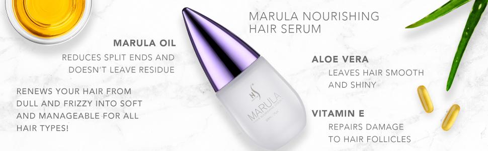 Marula serum, Straightens hair Repairs split hair ends Moisturizers hair Hair repair serum