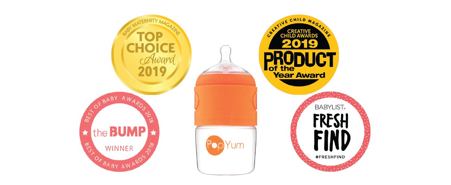 PopYum 9 oz 5 ounce Anti-Colic Formula Making Mixing Dispenser Baby Bottles Award Best Better