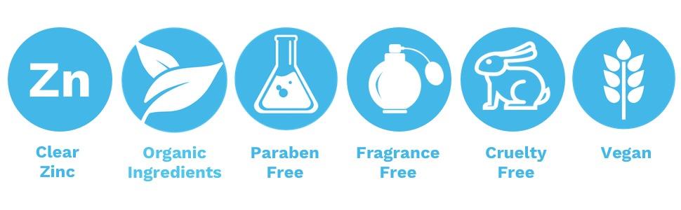 Clear Zinc, Organic Ingredients, Paraben Free, Fragrance Free, Cruelty Free, Vegan