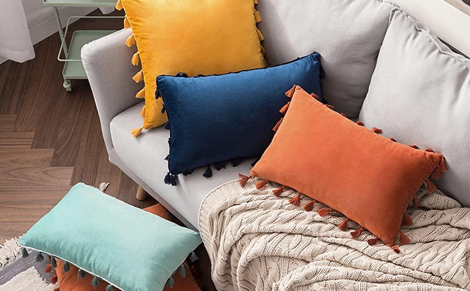velvet pillow tassel boho decorative throw pillowcase cushion cover accent decor