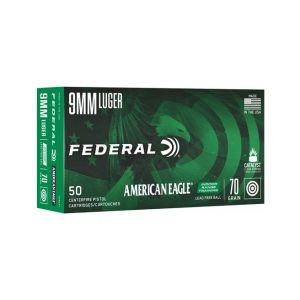 Federal American Eagle Indoor Range Training Brass 9mm 70 Grain 50-Rounds Lead-Free