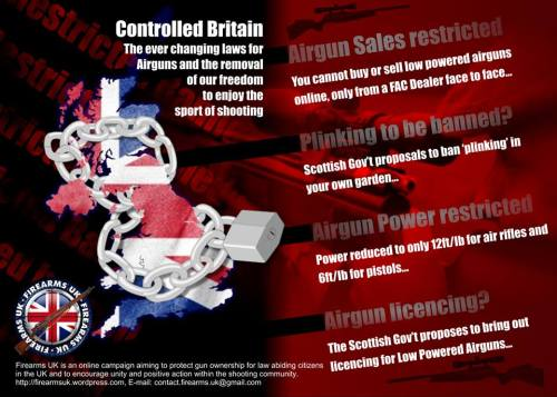 A meme created and published by Firearms UK on the restrictions faced by lawful airgunners