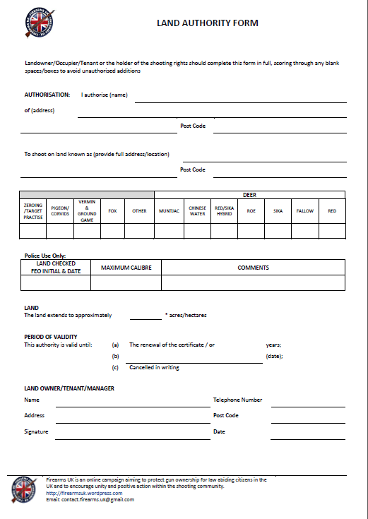 Firearms UK Land Authority Form