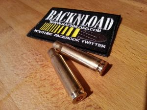 RACKNLOAD patch next to some empty brass