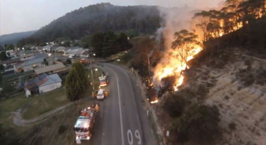 Stunning UAV video of bushfire