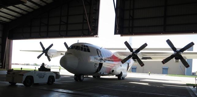 T-131 in hangar door