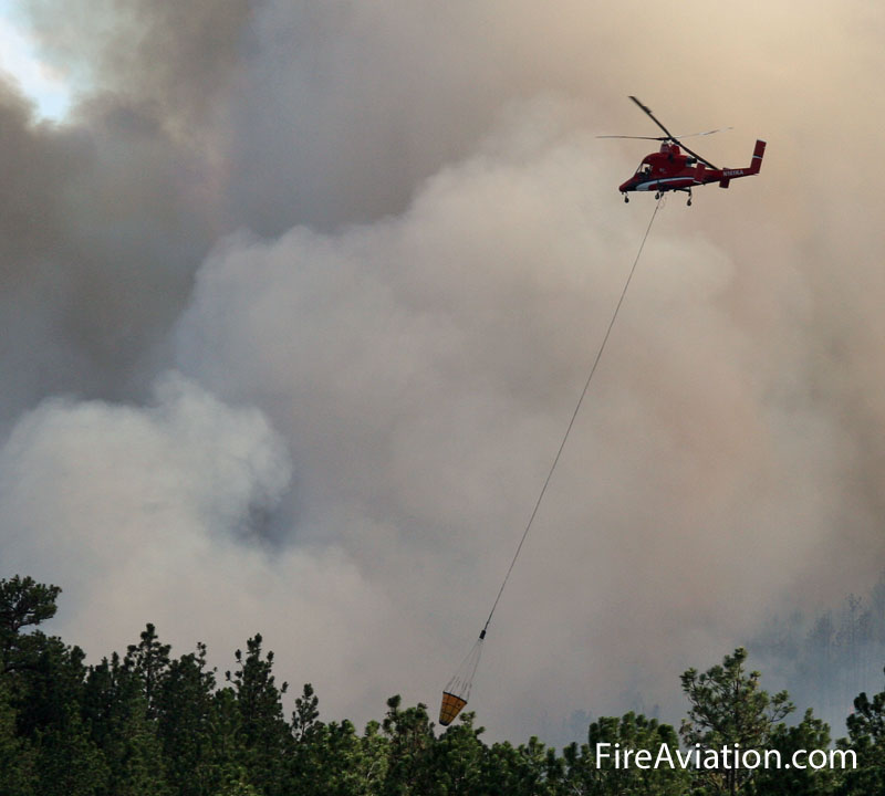 A K-MAX helicopter working the Myrtle Fire