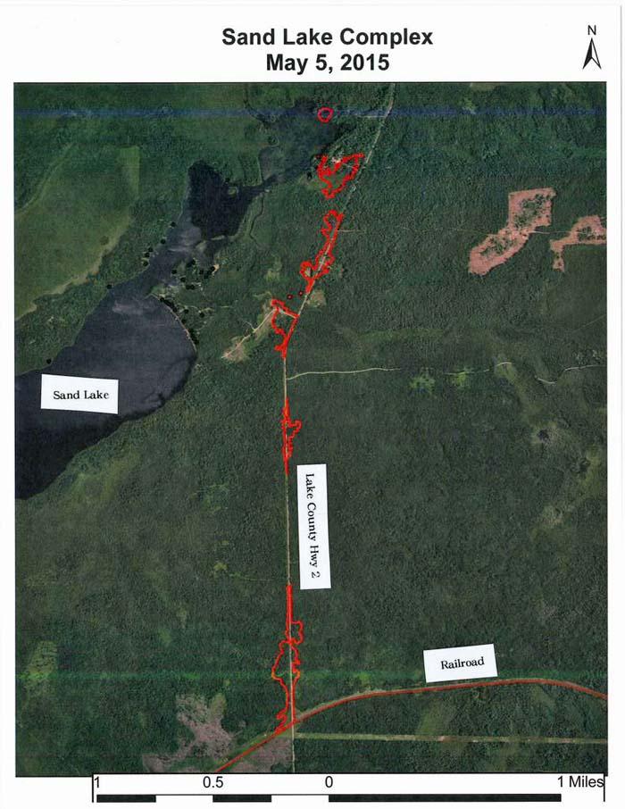 Sand Lake Fire map 5-5-2015