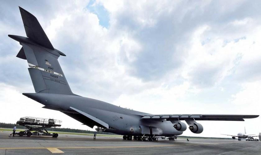 Air force plane hauling fire supplies