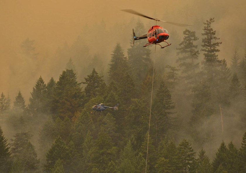 Helicopters fire Sproat Lake