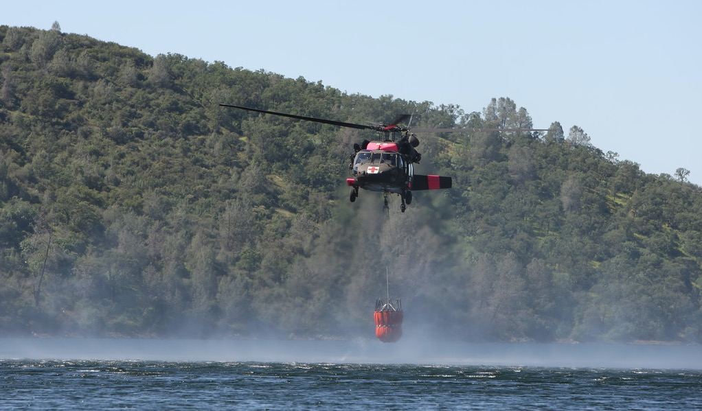 Annual fire training in California for National Guard helicopter crews