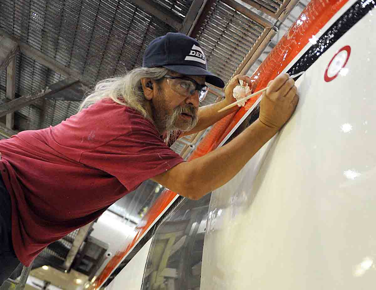 One of the last steps in the conversion of a Coast Guard aircraft into a USFS air tanker